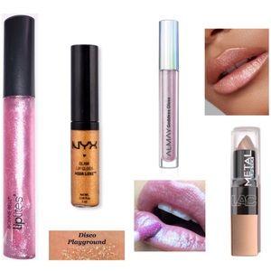 4x Almay NYX Glitter Holographic Shimmer Lip Gloss